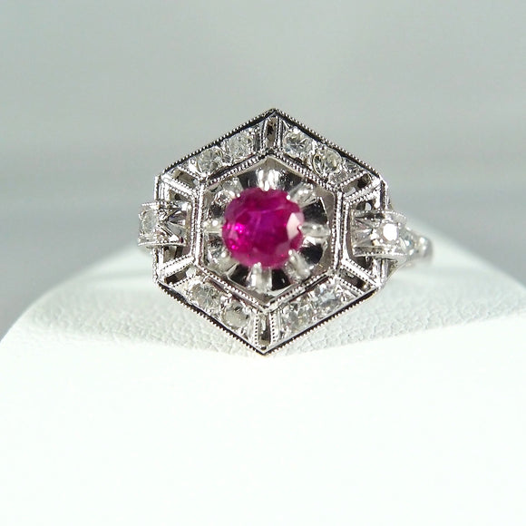 RESERVED Art Deco ring in platinum 950 Natural ruby and earth mined diamonds Stamped fine jewelry