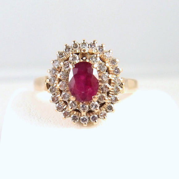 Captivating ruby ring Diamond halo stamped gold ring 14K solid gold fine jewelry Dinner statement ring Vintage gold ring