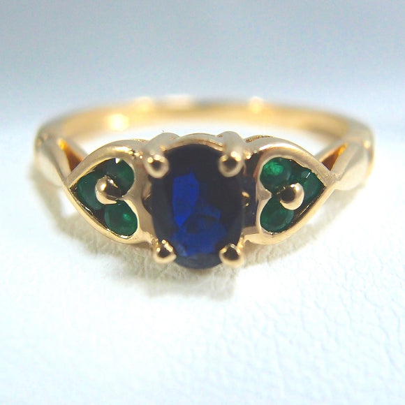 SOLD Estate 18K solid gold ring with sapphire and emeralds Stamped fine French gold band natural gemstones
