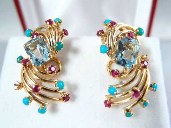 Large heirloom quality 18K solid gold clips with natural aquamarine turquoise ruby and chalcedony accents Hallmarks