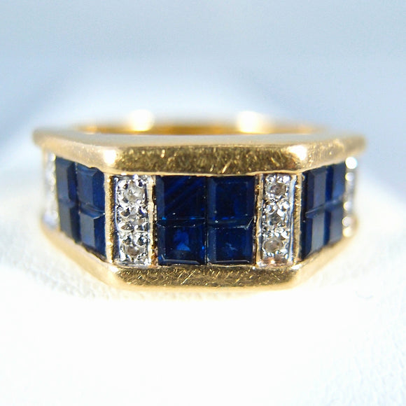 Estate 18K solid gold ring with sapphires and diamonds Stamped invisibly set square cut sapphires and round cut diamonds Fine gold band