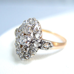 Edwardian era marquise 18K solid gold ring Old European cut and rose cut diamonds