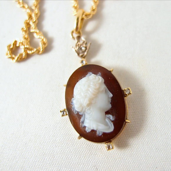 Antique hardstone cameo 18K solid gold 800 Silver with diamonds Stamped 18K Twisted rope chain