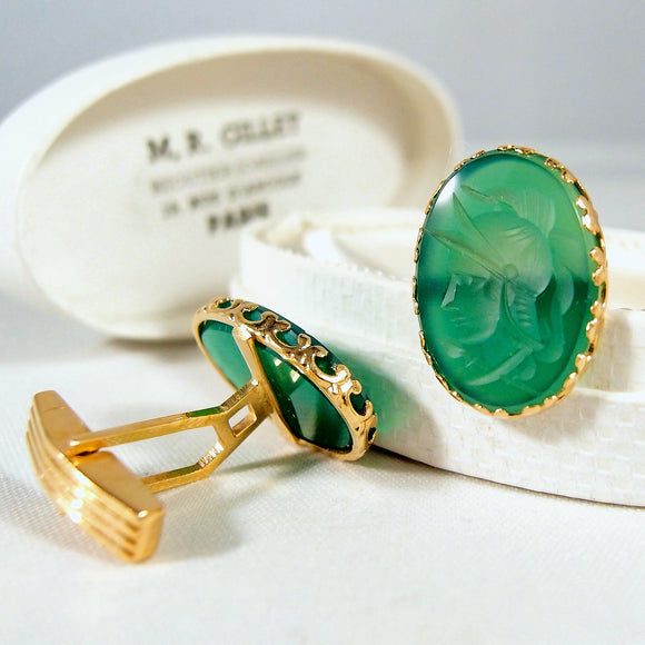 Estate men's cuff links 18K solid gold and chrysoprase intaglio Fine gold jewelry French provenance Hallmarked