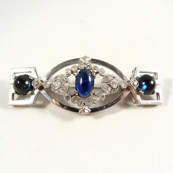 European solid white gold Art Deco brooch with 5.30ct tw sapphires cabochon and 0.52ct tw old European cut diamonds, Hallmarked jewelry