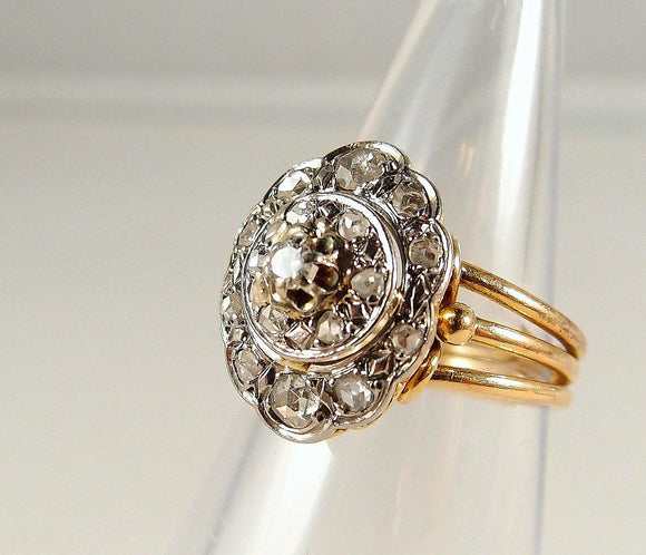 Three tier stamped 18K solid gold ring with 0.54ctw old European and rose cut diamonds Two tone fine gold jewelry Superb craftsmanship