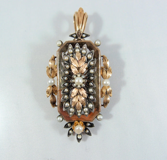 Rare antique 18K solid gold and silver brooch Stamped gold and pearl jewelry 1870s rose gold pin Filigree gold leaf pendant fine jewellery
