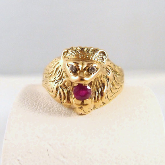 18K solid gold diamond and ruby lion head Finely etched mane Fine gold jewelry Brilliant cut diamond Faceted ruby