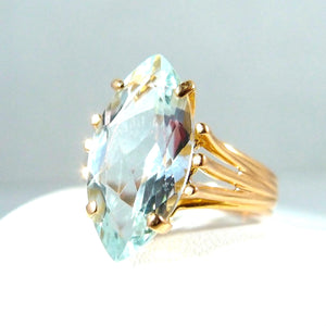 SOLD RL Estate marquise cut aquamarine ring set on a heavy 18K solid gold band Stamped fine jewelry