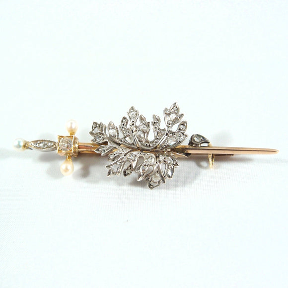 Art Nouveau 18K solid gold and silver delicate sword with diamonds and natural pearls Stamped