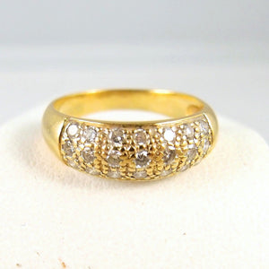 Estate 18K solid gold band Stamped and Numbered wedding engagement 21 diamond ring Anniversary solid gold pavé diamond