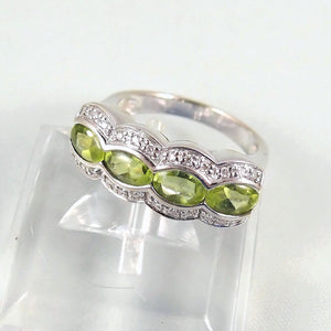 4 peridots 24 brilliant cut diamonds 18K solid gold ring Natural green gemstones  Fine French gold jewelry Vintage gold band