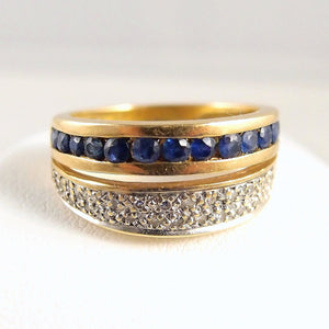 Retro period 18K solid gold double ring Stamped natural sapphire and diamond band Fine gold dual ring Vintage French gold ring