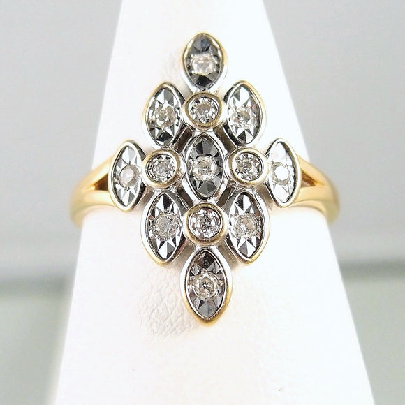 Geometric 18K solid white and yellow gold ring with natural round cut diamonds French fine gold jewelry Stamped 18 carat gold