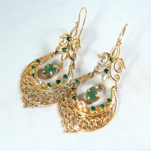 SOLD Estate 18K solid gold danglers with emerald Ornate byzantine crescent drops Stamped fine gold earrings  Ca. 1810
