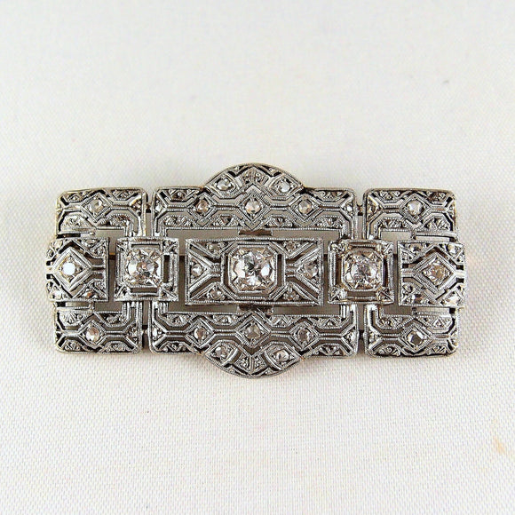 Rare genuine platinum and silver Art Déco brooch, 1.12carats old European cut and rose cut diamonds and filigree pin, hallmarked