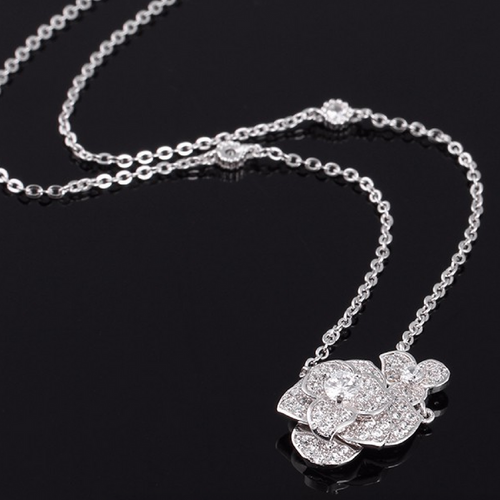 Wedding Necklace Rose Bridal Necklace Silver Floral Necklace Dainty Bride Necklace Swarovski CZ Zirconia Necklace Diamond Crystal Necklace - La Rose Necklace
