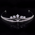 Wedding Tiara, Bridal Tiara, Swarovski Tiara, Crystal Wedding Crown, Swarovski Diadem, Diamond Tiara, Silver Crystal Tiara, Zirconia Bride Tiara - Adèle Tiara by Jolie Chérie Paris in 925 sterling silver rhodium plated and white cubic zirconia stones.