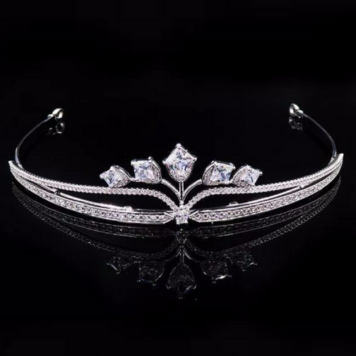 Wedding Tiara Bridal Tiara Swarovski Tiara Crystal Wedding Crown Swarovski Diadem Diamond Tiara Silver Crystal Tiara Zirconia Bride Tiara - Adèle Tiara by Jolie Chérie Paris