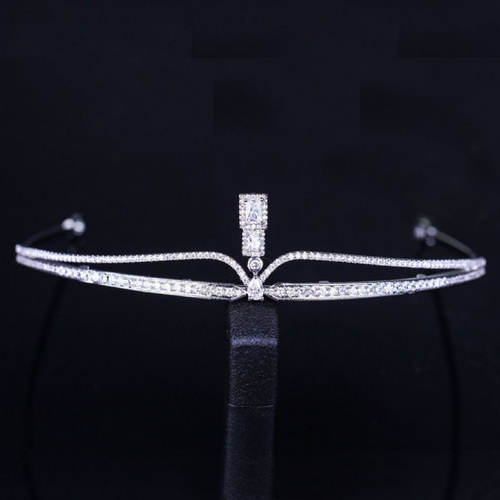 Wedding Tiara, Bridal Tiara, Swarovski Tiara, Crystal Wedding Crown, Swarovski Diadem, Diamond Tiara, Silver Crystal Tiara, Zirconia Bride Tiara - Alice Tiara by Jolie Chérie Paris in 925 sterling silver rhodium plated and white cubic zirconia stones.