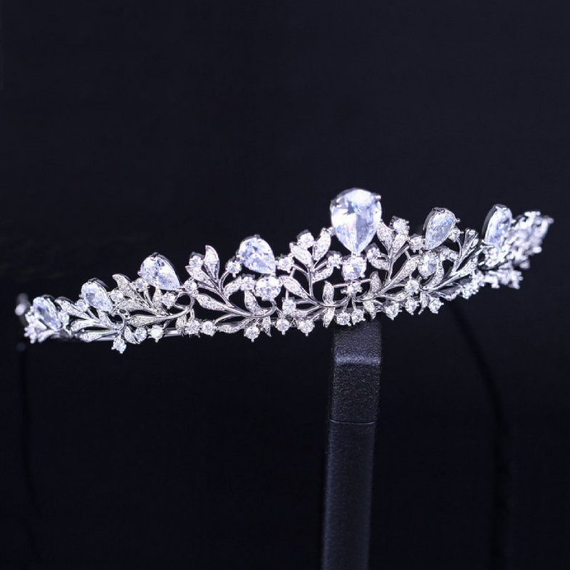 Wedding Tiara, Bridal Tiara, Swarovski Tiara, Crystal Wedding Crown, Swarovski Diadem, Diamond Tiara, Silver Crystal Tiara, Zirconia Bride Tiara - Angélique tiara by Jolie Chérie Paris in 925 sterling silver rhodium plated and white cubic zirconia stones.