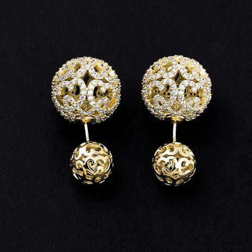 Gold Double Pearl Earrings Bridal Swarovski Double Sided Ball Stud Earrings Wedding Zirconia Front Back Earrings CZ Crystal Bride Earrings - Arielle Earrings by Jolie Chérie Paris