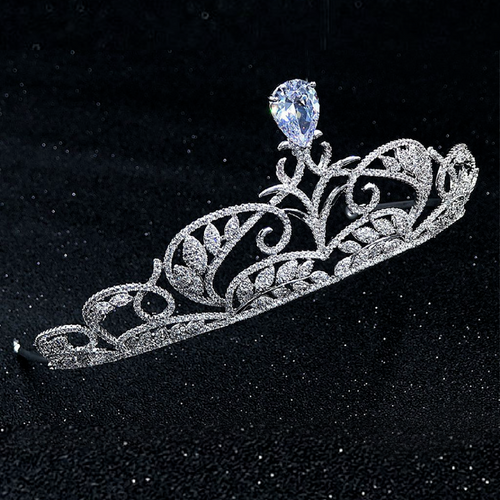Wedding Tiara, Bridal Tiara, Swarovski Tiara, Diamond Tiara, Silver Crystal Tiara, Bride Zirconia Tiara, CZ Wedding Diadem, Swarovski Bridal Crown - Arielle Tiara by Jolie Chérie Paris in 925 sterling silver rhodium plated and white cubic zirconia stones.