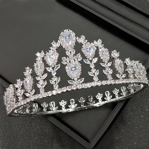 Wedding Crown, Bridal Crown, Full Crown, Wedding Tiara, Swarovski Crown, Diamond Crown, Silver Crystal Crown, Zirconia Bride Crown, Swarovski Diadem - Aurélie Crown by Jolie Chérie Paris in 925 sterling silver rhodium plated and white cubic zirconia stones.