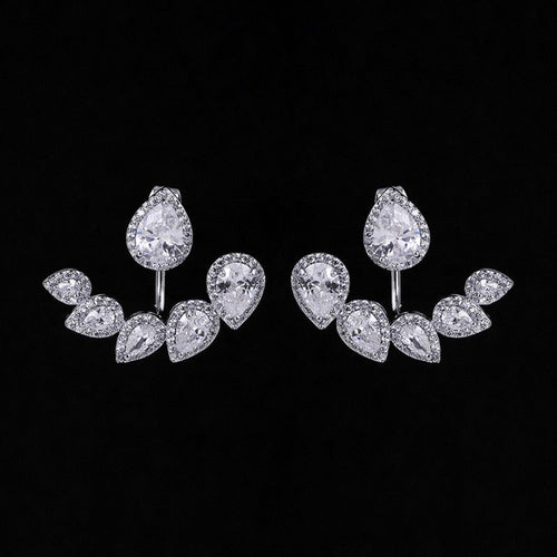 Bride Silver Tear Drop Front Back Earrings Bridal Swarovski Jacket Cuff Stud Earrings Wedding Cubic Zirconia Crystal Double Sided Earrings - Aurélie Earrings by Jolie Chérie Paris