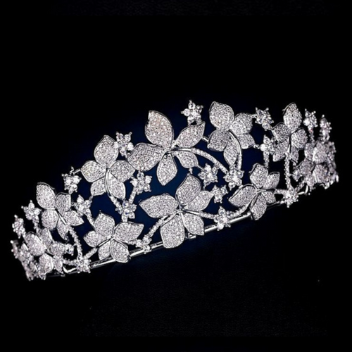 Wedding Tiara Bridal Tiara Floral Tiara Wedding Crown Floral Diadem Swarovski Tiara Diamond Tiara Silver Crystal Tiara Zirconia Bride Tiara - Daisy Tiara by Jolie Chérie Paris