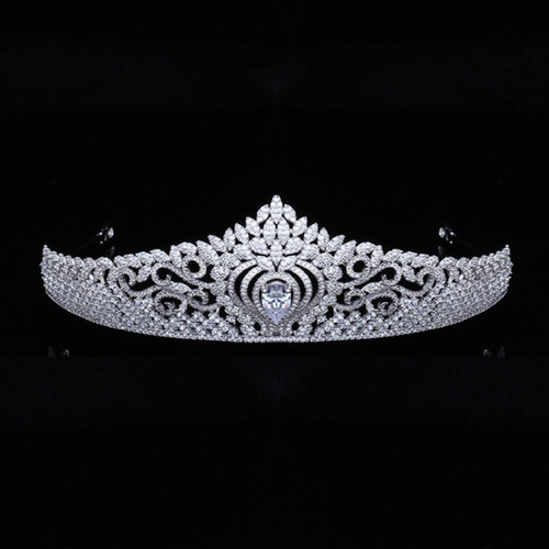 Wedding Tiara, Bridal Tiara, Swarovski Tiara, Crystal Wedding Crown, Swarovski Diadem, Diamond Tiara, Silver Crystal Tiara, Zirconia Bride Tiara - Elena Tiara by Jolie Chérie Paris in 925 sterling silver rhodium plated and white cubic zirconia stones.