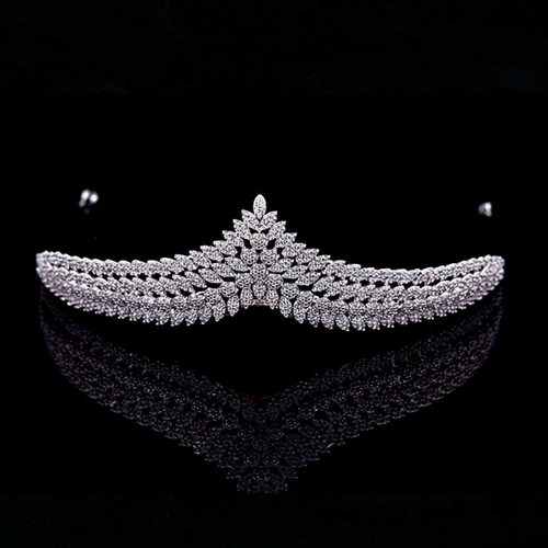 Wedding Tiara, Bridal Tiara, Swarovski Tiara, Crystal Wedding Crown, Swarovski Diadem, Diamond Tiara, Silver Crystal Tiara, Zirconia Bride Tiara - Éloïse Tiara by Jolie Chérie Paris in 925 sterling silver rhodium plated and white cubic zirconia stones.
