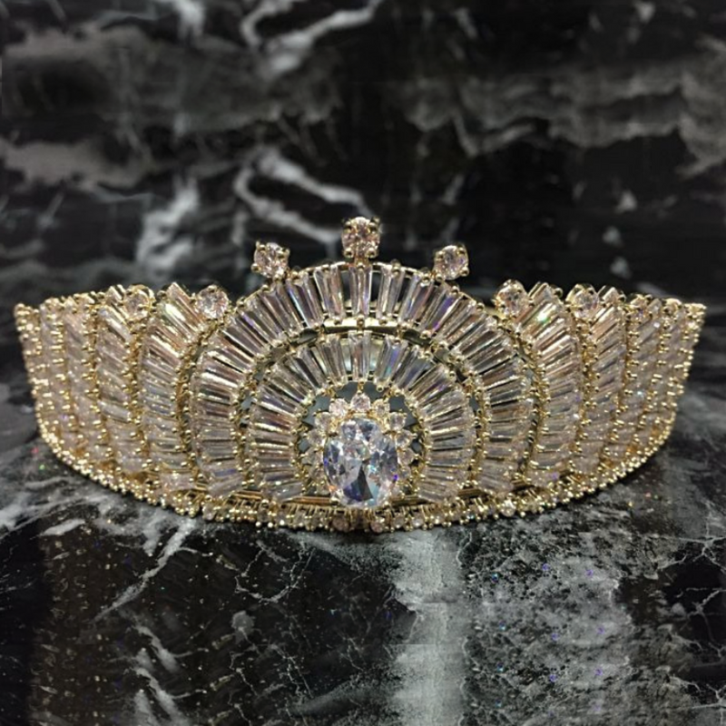 Wedding Crown, Bridal Crown, Full Crown, Wedding Tiara, Swarovski Crown, Diamond Crown, Gold Crystal Crown, Zirconia Bride Crown, Swarovski Diadem - Gold Candice Crown by Jolie Chérie Paris in yellow plated sterling and white cubic zirconia stones.