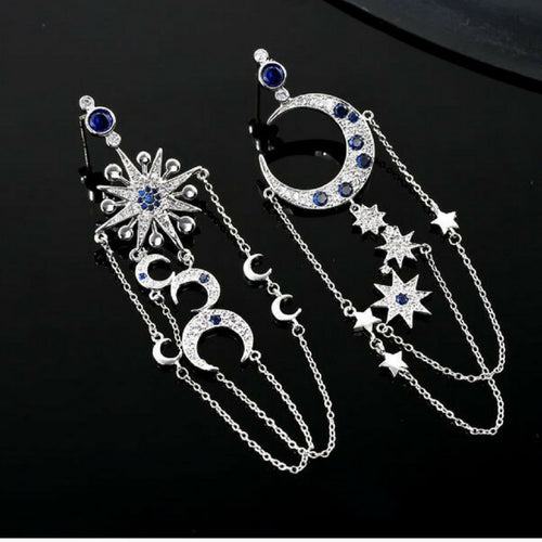 Moon Star Asymmetrical Earrings Crescent Moon Earrings North Star Earrings Sapphire Silver Star Earrings Statement Celestial Space Earrings - Luna Earrings by Jolie Chérie Paris