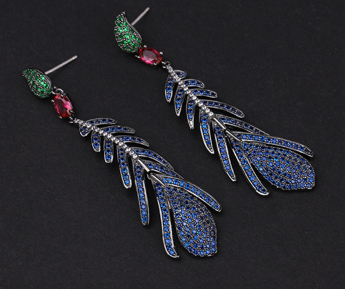 Peacock Earrings, Feather Earrings, Blue Jewelry, Bird Earrings, Peacock Jewelry, Peacock Feather Earrings, Feather Jewelry, Sapphire