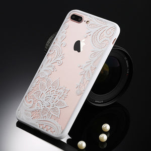 Retro Floral Phone Case For Apple iPhone 7 6 6s 5 5s SE Plus Lace Flower Hard PC+TPU Cases