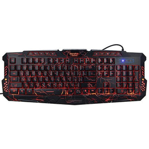 Backlit Gaming Keyboard LED Switch 3-Color USB Wired Colorful Breathing Waterproof