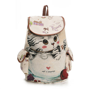 Lovely Cat Casual Canvas Backpack  Large Capacity