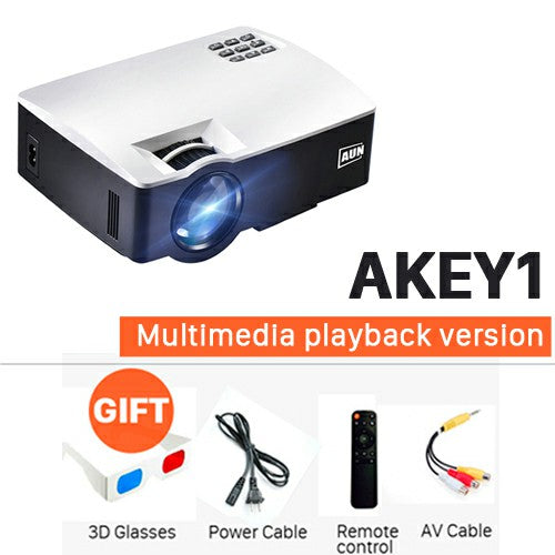 AUN Projector AKEY1/Plus for Home Theater, 1800 Lumens, HDMI Support Full HD 1080P (Optional Android 6 Version Support 4K Video)