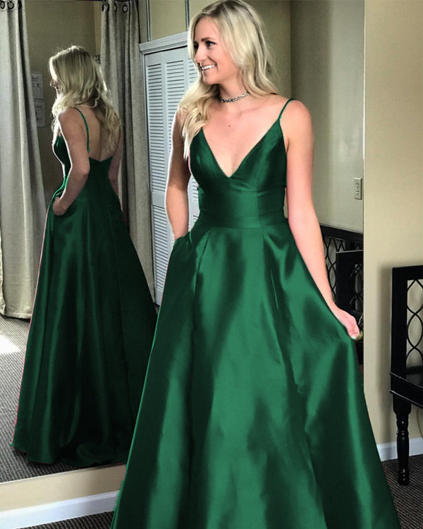 Simple A-line Long Satin Prom Dresses V-neck Floor Length Evening Gowns