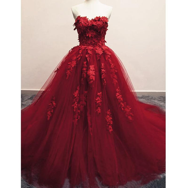 Burgundy Floral Lace Sweetheart Tulle Ball Gown Wedding Dresses