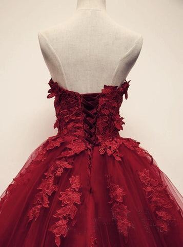 Image of Burgundy Floral Lace Sweetheart Tulle Ball Gown Wedding Dresses
