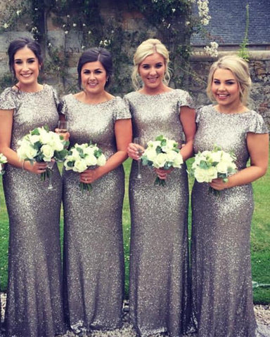 Image of Long-Silver-Sequins-Bridesmaid-Dress-Mermaid-Evening-Party-Gowns