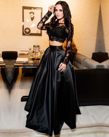 Image of Long-Sleeves-Prom-Dresses-Black