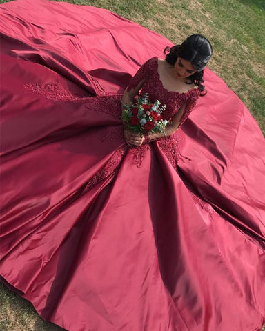 Image of Burgundy-Prom-Dresses-Long-Sleeves-Ball-Gowns-Lace-Appliques