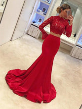 Load image into Gallery viewer, Long Sleeves Mermaid Prom Dresses Two Piece Evening Gowns 2018