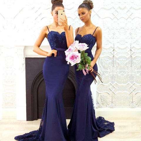 Image of Elegant-Women's-Formal-Evening-Gown-Dresses-Lace-Appliques-Prom-Dress