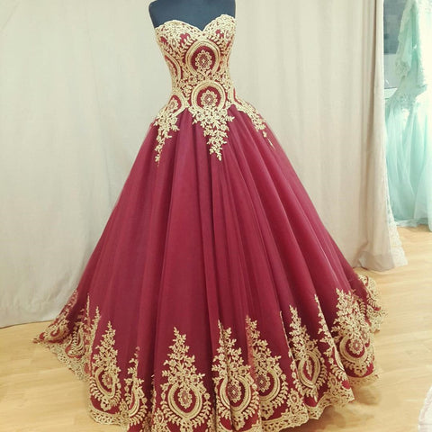 Image of Wine Red Tulle Ball Gowns Wedding Dresses Gold Lace Appliques