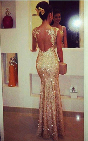 Image of Lace Appliques Cap Sleeves Nude Back Floor Length Sequin Mermaid Evening Dresses