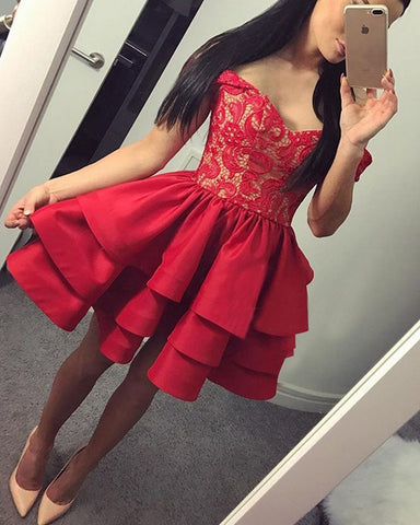 Image of Dark-Red-Homecoming-Dresses